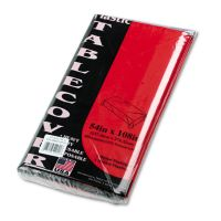 Tablemate Table Set Rectangular Table Cover, Heavyweight Plastic, 54 x 108, Red, 6/Pack TBL549RD