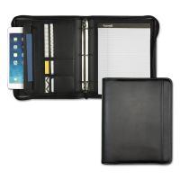 Samsill Professional Zippered Pad Holder/Ring Binder, Pockets, Writing Pad, Vinyl Black SAM15650