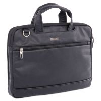 "Harold Slim Briefcase, 11"" x 3"" x 11.5"", Synthetic Leather, Black BUGEXB527"