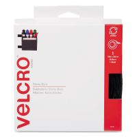 "Velcro Sticky-Back Hook & Loop Fasteners w/Dispenser, 3/4"" x 15ft Roll, Black VEK90081"