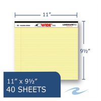 Roaring Spring WIDE Landscape Format Writing Pad, College Ruled, 11 x 9 1/2, Canary, 40 Sheets ROA74501