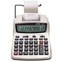 Victor 1208-2 Two-Color Compact Printing Calculator, Black/Red Print, 2.3 Lines/Sec VCT12082