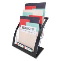 deflecto 3-Tier Literature Holder, Leaflet Size, 11 1/4 x 6 15/16 x 13 5/16, Black DEF693704