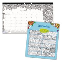 Blueline Academic DoodlePlan Desk Pad Calendar w/Coloring Pages,17 3/4 x 10 7/8,2017-2018 REDCA2917001