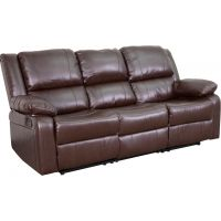 Flash Furniture Harmony Series Brown Leather Sofa with Two Built-In Recliners FHFBT70597SOFBNGG