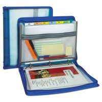 """C-Line Zippered Binder with Expanding File, 10.88"""" x 1.5"""", Bright Blue CLI48115"""
