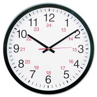"Universal 24-Hour Round Wall Clock, 12 5/8"", Black UNV10441"