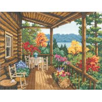 Log Cabin Covered Porch Counted Cross Stitch Kit NOTM052770