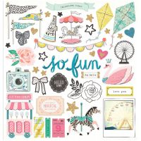 """Maggie Holmes Carousel Chipboard Stickers 12""""X12"""" NOTM048068"""