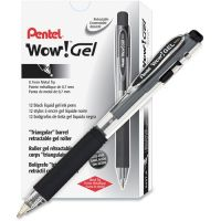 Pentel WOW! Retractable Gel Pen, .7mm, Trans Barrel, Black Ink, Dozen PENK437A