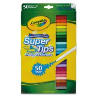 Crayola Washable Super Tips Markers, Assorted, 50/Set CYO585050