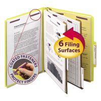 Smead Pressboard Classification Folders, Letter, Six-Section, Yellow, 10/Box SMD14034