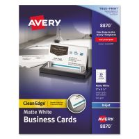 Avery True Print Clean Edge Business Cards, Inkjet, 2 x 3 1/2, White, 1000/Box AVE8870