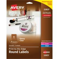 "Avery Round Print-to-the-Edge Labels, 2"" dia, Glossy Clear, 120/Pack AVE22825"