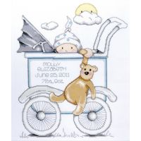 Baby Buggy Boy Birth Record Counted Cross Stitch Kit NOTM435105