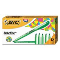 BIC Brite Liner Highlighter, Chisel Tip, Fluorescent Green, Dozen BICBL11GN