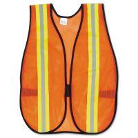 MCR Safety Orange Safety Vest, 2 in. Reflective Strips, Polyester, Side Straps, One Size CRWV201R