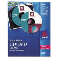 Avery Laser CD Labels, Matte White, 30/Pack AVE6692
