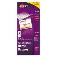 Avery Neck Hang Badge Holder w/Laser/Inkjet Insert, Top Load, 3h x 4w, White, 50/BX AVE74520