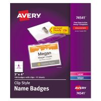 Avery Clip-Style Name Badge Holders w/Inserts, Top Load, 3 x 4, White, 100/Box AVE74541