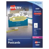 Avery Postcards, Color Laser Printing, 4 x 6, Uncoated White, 2 Cards/Sheet, 80/Box AVE5889