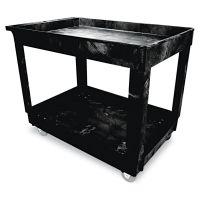 Rubbermaid Commercial Service/Utility Cart, Two-Shelf, 24w x 40d x 31-1/4h, Black RCP9T6700BLA