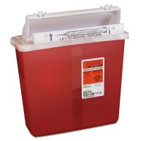 Covidien Sharps Containers, Polypropylene, 5 qt, 4 3/4 x 10 3/4 x 11 1/2, Red CVDK5SS1007SA