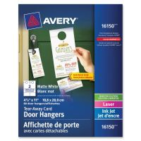 Avery Door Hanger w/Tear-Away Cards, 4 1/4 x 11, Matte White, 10/Sheet, 40 Sheets/Pack AVE16150