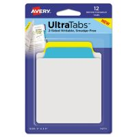 Avery Ultra Tabs Repositionable Tabs, 3 x 3 1/2, Primary: Blue, Yellow, 12/Pack AVE74771