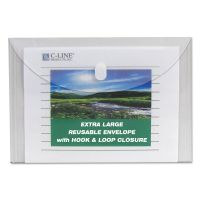 C-Line Reusable Poly Envelope, Hook and Loop Closure, 9 3/8 x 13, Clear, 5/PK CLI35107