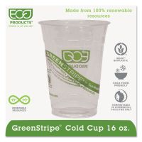 Eco-Products GreenStripe Renewable & Compostable Cold Cups - 16oz., 50/PK, 20 PK/CT ECOEPCC16GS