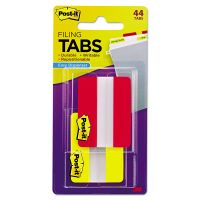 Post-it Tabs File Tabs, 2 x 1 1/2, Solid, Red/Yellow, 44/Pack MMM6862RY