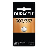 Duracell Button Cell Silver Oxide Calculator/Watch Battery, 303/357, 1.5V, 6/Box DURD303357PK