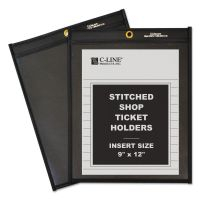 C-Line Shop Ticket Holders, Stitched, One Side Clear, 75 Sheets, 9 x 12, 25/BX CLI45912