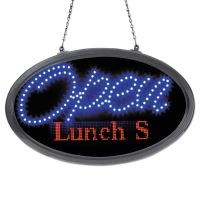 "Artistic LED Oval Open Sign with Programmable Message, 14"" x 27"", Red/Blue AOP34109"