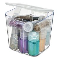 deflecto Stackable Caddy Organizer Containers, Small, Clear DEF29101CR