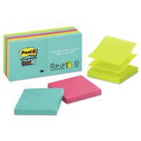 Post-it Pop-up Notes Super Sticky Pop-up 3 x 3 Note Refill, Miami, 90 Notes/Pad, 10 Pads/Pack MMMR33010SSMIA