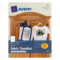 Avery Light Fabric Transfers for Inkjet Printers, 8 1/2 x 11, White, 12/Pack AVE3275