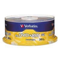 Verbatim DVD+RW Discs, 4.7GB, 4x, Spindle, 30/Pack VER94834