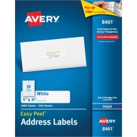 Avery Easy Peel Mailing Address Labels, Inkjet, 1 x 4, White, 2000/Box AVE8461