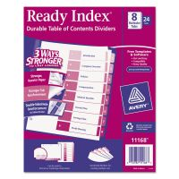Avery Ready Index Customizable Table of Contents Asst Dividers, 8-Tab, Multi-color Tab, Letter, 24 Sets AVE11168