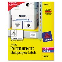 Avery Permanent ID Labels, Inkjet/Laser, 2 x 2 5/8, White, 225/Pack AVE6572