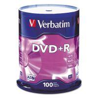 Verbatim DVD+R Discs, 4.7GB, 16x, Spindle, 100/Pack VER95098