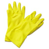 Boardwalk Flock-Lined Latex Cleaning Gloves, X-Large, Yellow, 12 Pairs BWK242XL