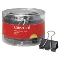 "Universal Medium Binder Clips, 5/8"" Capacity, 1 1/4"" Wide, Black, 24/Pack UNV11124"