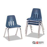 "Virco 9000 Series Classroom Chairs, 14"" Seat Height, Navy/Chrome, 4/Carton VIR901451"