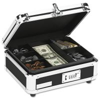 Vaultz Plastic & Steel Cash Box w/Tumbler Lock, Black & Chrome IDEVZ01002