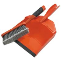 "BLACK+DECKER Dust Pan & Brush Set, Plastic, 9 1/2"" Wide, 6 1/2"" Handle, Black/Orange BUT264012"