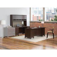 Bush Business Furniture Enterprise 72W Office Desk with Hutch, 2 Pedestals and Credenza BSHENT012MR