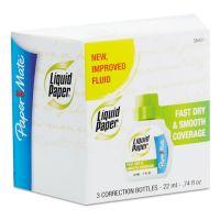 Paper Mate Liquid Paper Fast Dry Correction Fluid, 22 ml Bottle, White, 3/Pack PAP5643115